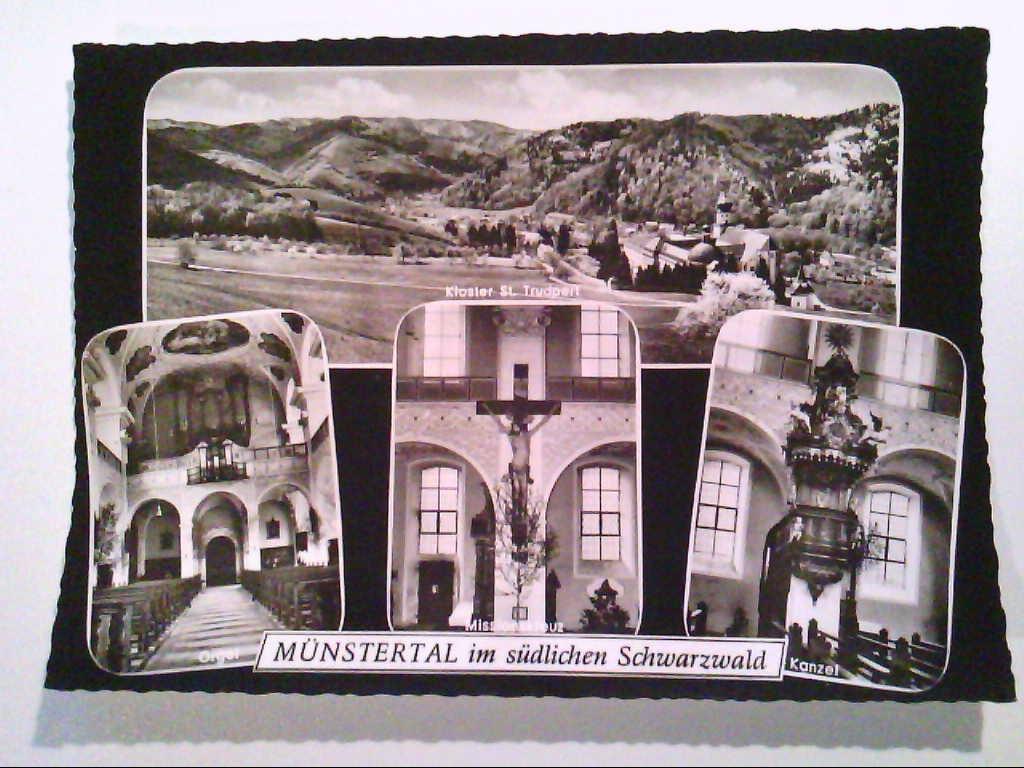 AK. Münstertal. Schwarzwald. Kloster St.Trudpert. Mehrbildkarte mit 4 Abb. Echtes Photo. s/w.