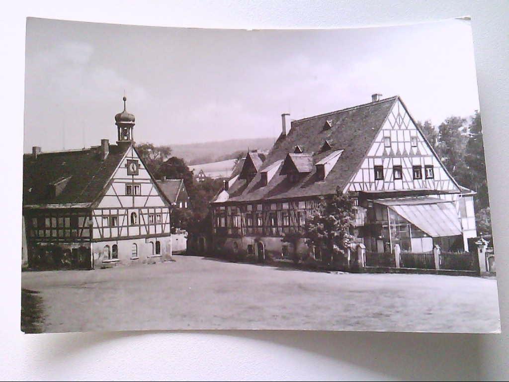 AK. Olbernhau. Kr. Marienberg. In der Hütte. Fachwerkhäuser. Echt Foto. s/w.