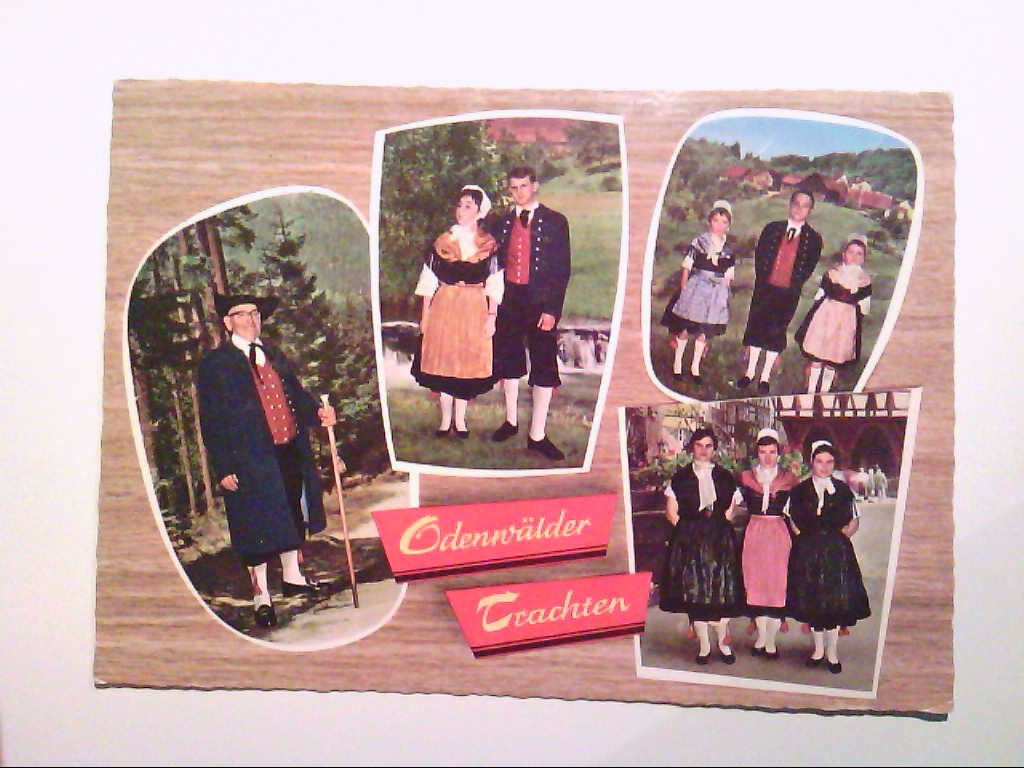 AK. Odenwald. Odenwälder Trachten. Mehrbildkarte mit 4 Abb.
