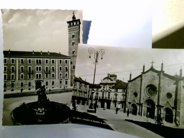 Piazza - Medici und Piazza e Chiesa S. Secondo. Asti / Italien. Set 2 x AK s/w. Gebäudeansichten, Kirche, Brunnen, Passanten, Italien