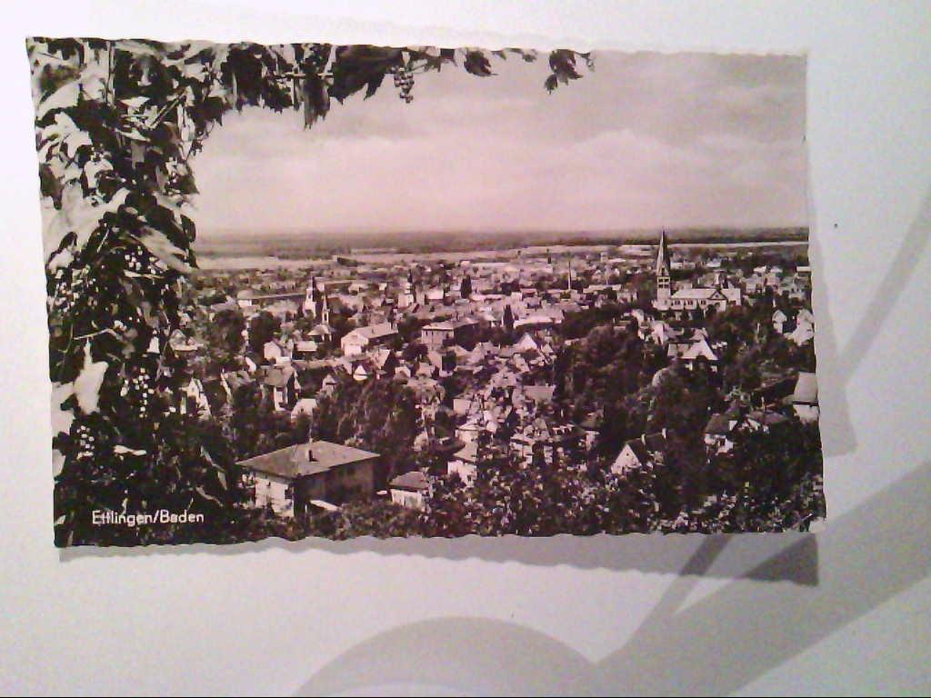AK. Ettlingen / Baden. Blick vom Rottberg. s/w.
