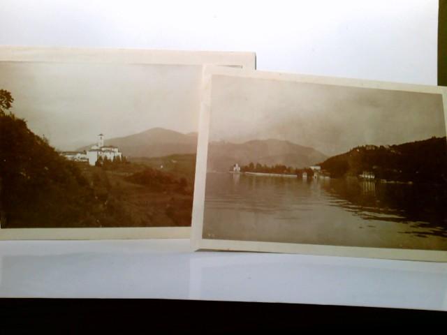 2 x Foto s/w  ca 11 x 7,5 cm - Lago Maggiore / Italien. Fotos sauber auf festerm Papier aufgeklebt. Seeblick, Gebäudeansichten, Panoramablick