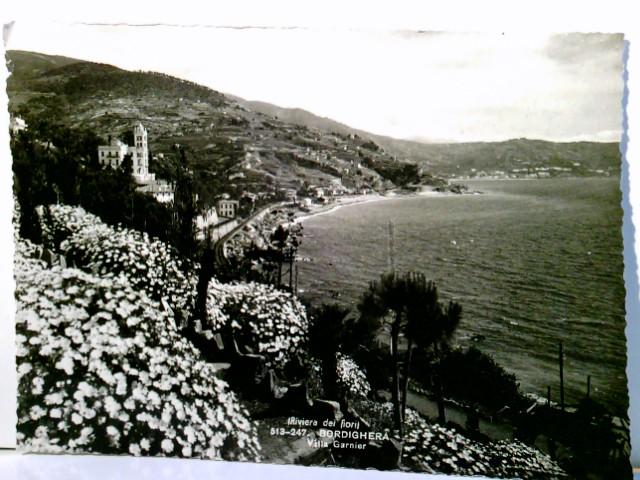 Riviera dei Fiori - Bordighera. Villa Garnier. Region Ligurien - Provinz Impera - Italien. AK s/w. Panoramablick entlang der Küste, Blick zur Villa, Blumengärten, Panoramablick