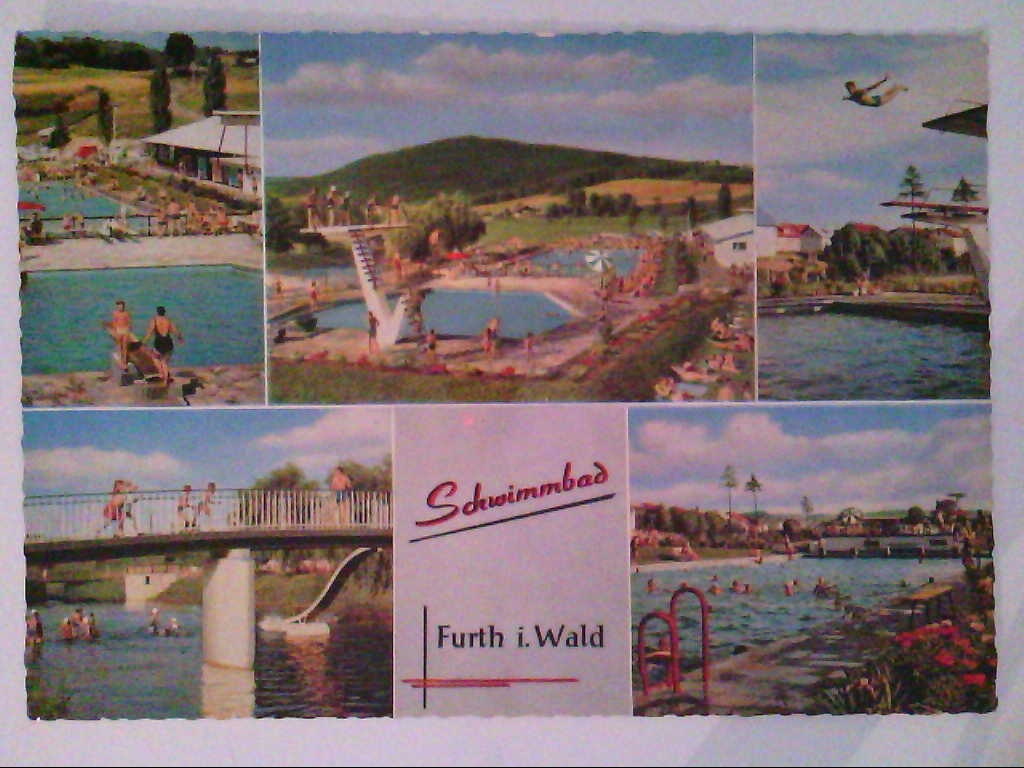 Furth i. Wald. Schwimmbad. Mehrbildkarte mit 5 Abb. , Ansichtskarte