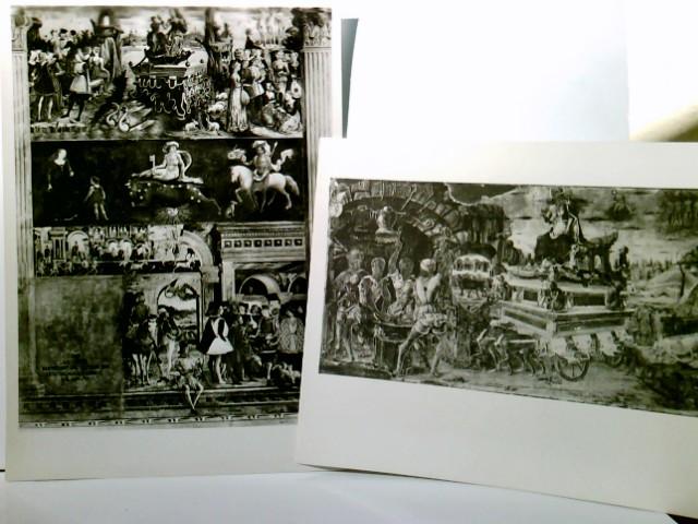 Ferrara / Emilia - Romagna / Italien. Set 2 x AK s/w. Palazzo Schifanoia : Trionjo e jucina di Vulcano  ( Erole de Roberti ). 1 x Palazzo Schifanoia : Trionjo di Venere e Segno del Toro ( Francesco del Cossa, 1469 )