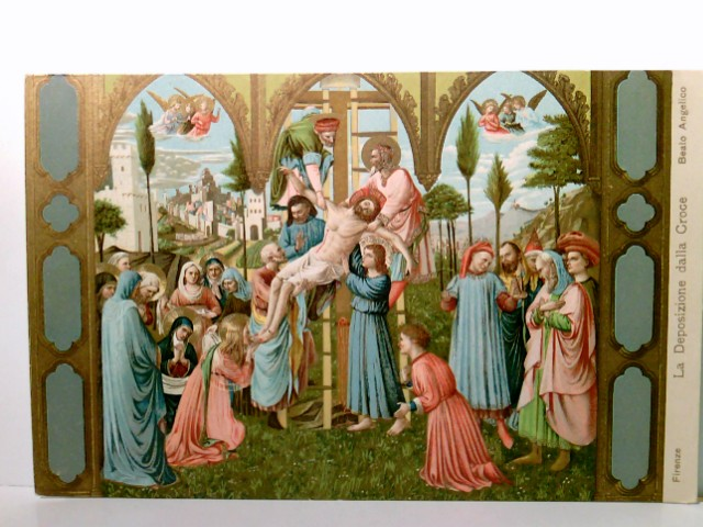 Beato Angelico - La Deposizione della Croce - Die Absetzung des Kreuzes. Firenze / Florenz / Toskana / Italien. Sehr schöne AK farbig, Engel, betende Menschen
