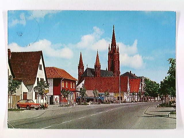 Lampertheim, Römerstraße und Domkirche, AK, gelaufen 1986