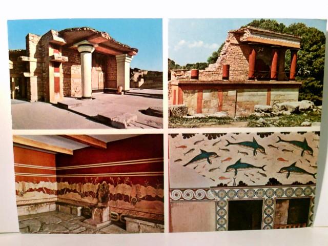 Kreta Knossos. Griechenland. Schöne farbige Vierbild - AK. Gebäudeansichten, Palast, Wachthaus, Innenansichten, Griechische Inseln