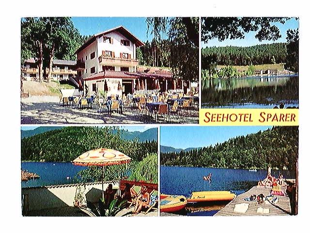 Eppan, Montiggler See, Seehotel Sparer, 4 Ansichten, Mehrbild-AK, gelaufen 1977