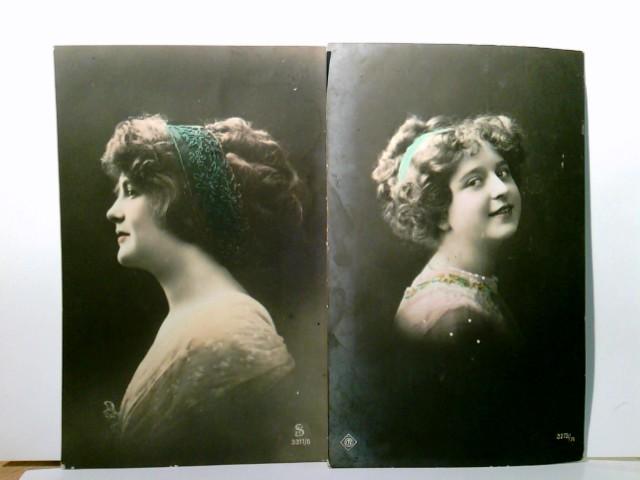 2 x Nostalgie AK gel. 1913 /14. 2 x Zeitgenössische Frauendarstellungen. Frauenportraits. Vintage, Frauen mit Haarbändern