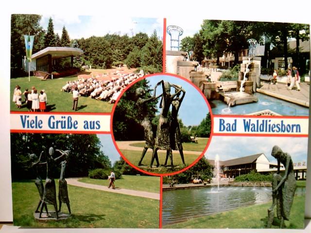 Grüße aus Bad Waldliesborn / Westfalen. Farbige Mehrbild AK. Kurpark, Personen, Kurkonzert
