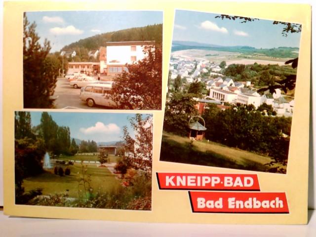 Kneipp Bad - Bad Endbach. Hessen. Mehrbild AK farbig. Gebäudeansichten, Park,Panoramablick, Autos