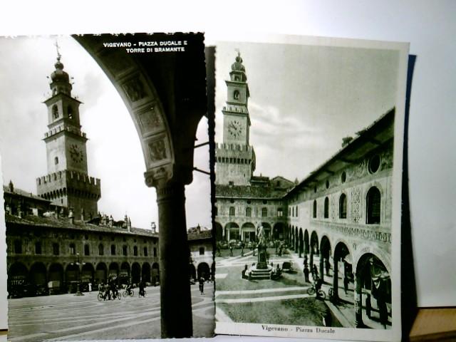Vigevano. 2 x seltene AK s/w. 1 x Piazza Ducale e Torre di Bramante, 1 x Piazza Ducale, Blick über die Piazza zum Dom, Personen, Kirche, Statue, Lombardei, Italien
