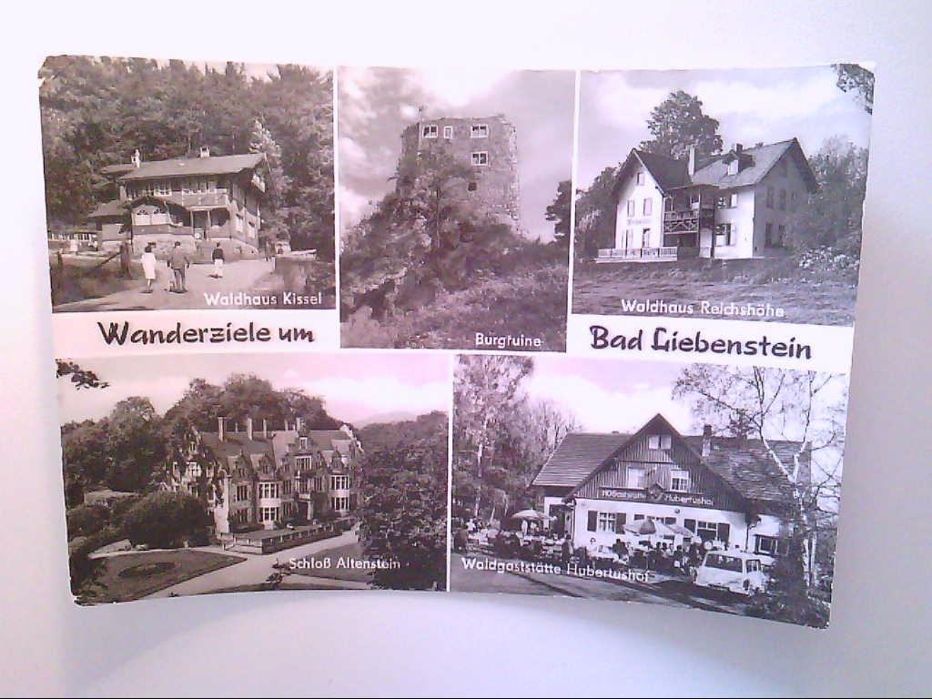 Bad Liebenstein. Mehrbildkarte mit 5 Abb. Wanderziele, Waldhaus Reichshöhe,u.a. Ansichtskarte.