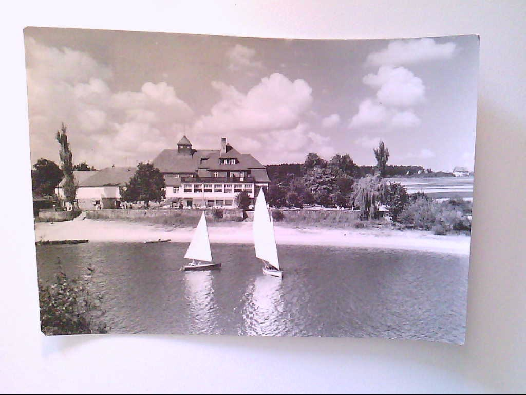 """HO-Hotel """"Haus Seeblick"""". Talsperre Malter. Paulsdorf. Segelboote. Ansichtskarte."""