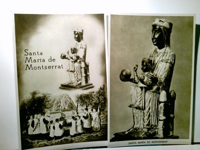 Montserrat / Katalonien / Spanien. 2 x AK s/w. 2 x Santa Maria de Montserrat. 1 x Mutter Gottes mit dem Kinde auf einem Throne. 1 x Mutter Gottes mit dem Kinde auf einem Throne umgeben von Messdienern, im Hintergrund Kloster Montserrat