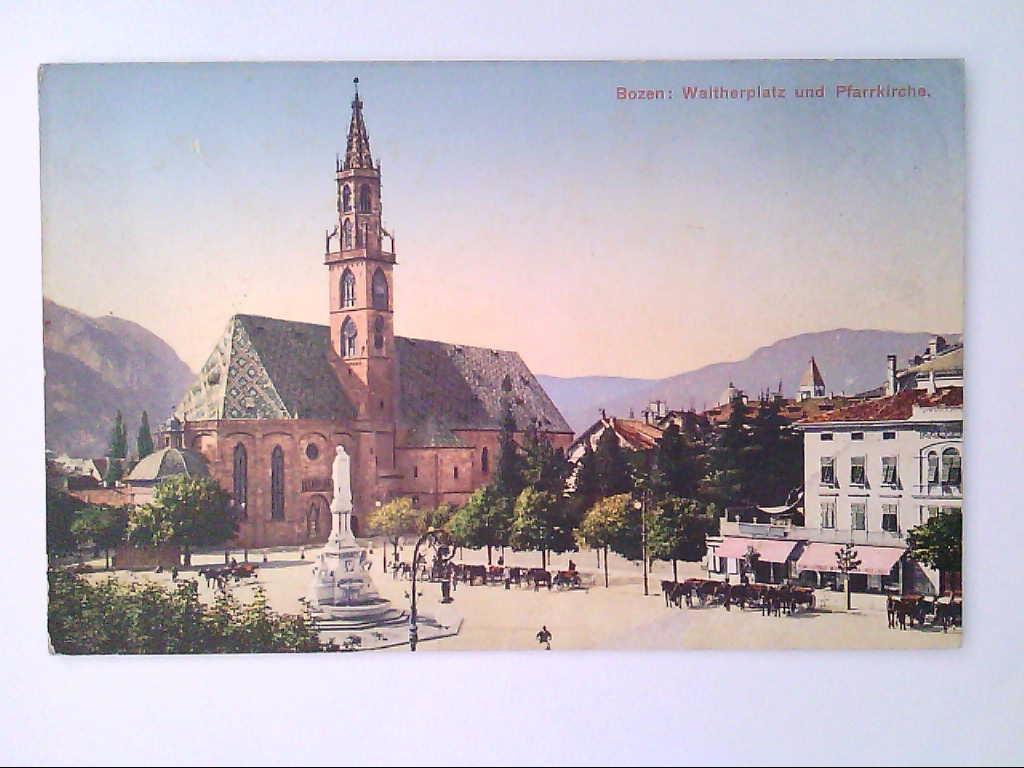 Bozen, Italien. Waltherplatz und Pfarrkirche. Künstlerkarte. AK.