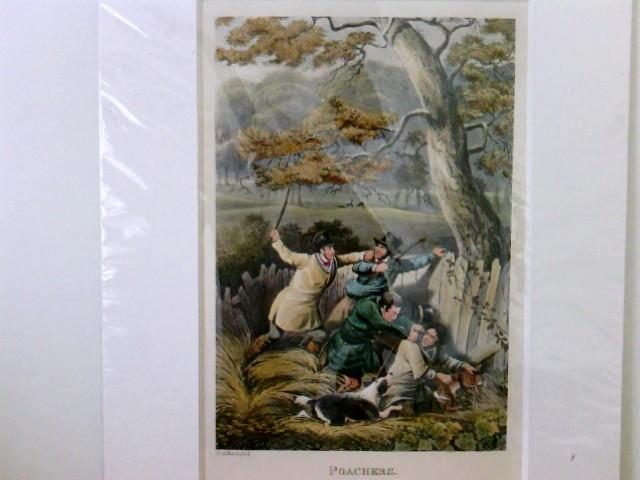 Poachers, Jagd, Wilderer, zwei Männer mit Hund überwältigen zwei Wilderer, die gerade einen Hasen gefangen haben, H. Alken, del.