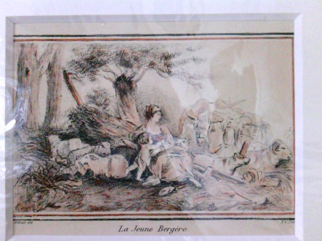 La Jeune Bergere, Hirtin, Schäferin mit Kind umringt von Schafen, Kühen und einem Hund,