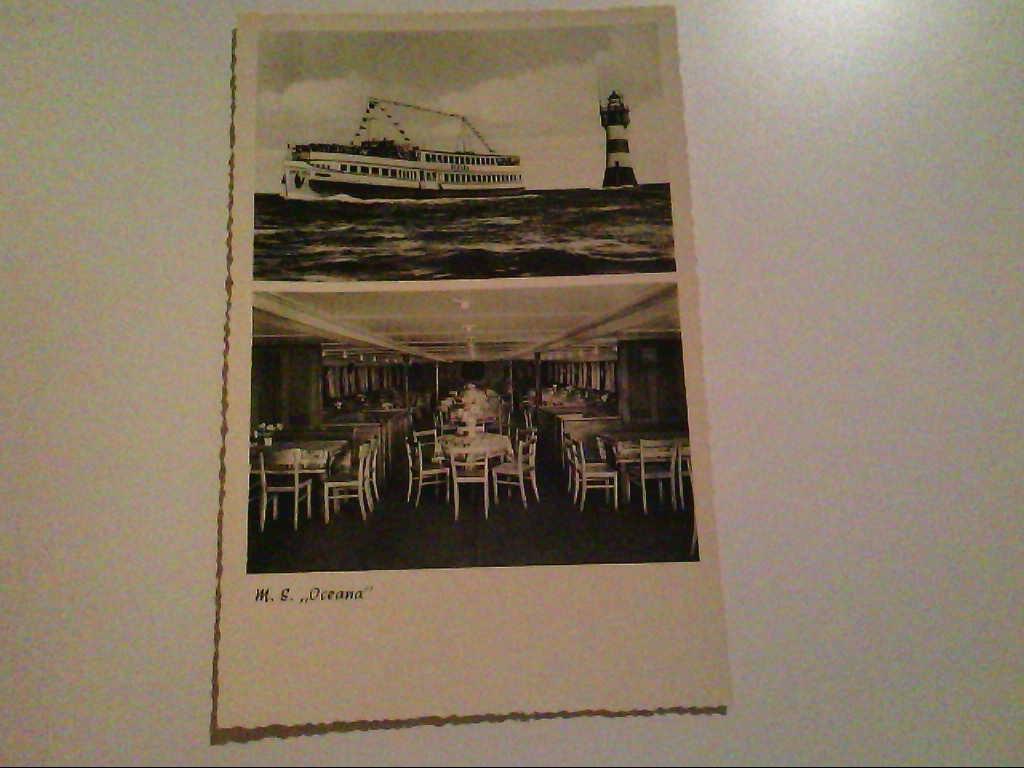 """M.S. """"Oceana"""". Zweibildkarte. Innen- und Aussenansicht. AK."""