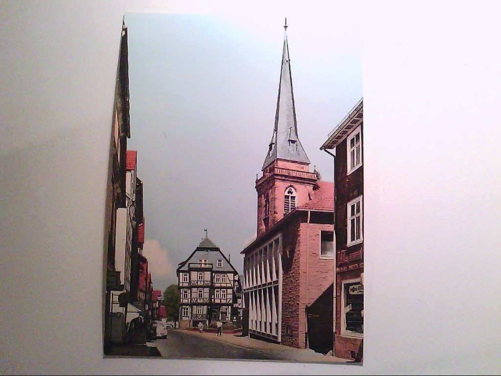Hessisch-Lichtenau. Hauptstrasse mit kirche. Fachwerkhäuser. AK.