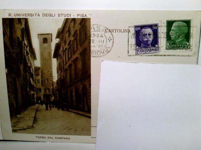 Torre del Campano / R. Universitá degli Studi / Pisa / Italien. Alte AK s/w. Straßenpartie, Gebäudeansichten, Turm, Personen. Anschrift / Briefmarke auf Vorderseite