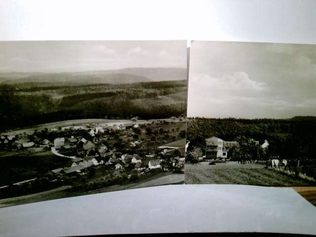 Pension Schumbert. Bullau - Erbach im Odenwald. 2 x AK s/w. 1 X Ortsansicht mit Panoramablick, Luftbild, Fliegeraufnahme, 1 x Gebäudeansicht, Kuhweide, Panoramablick