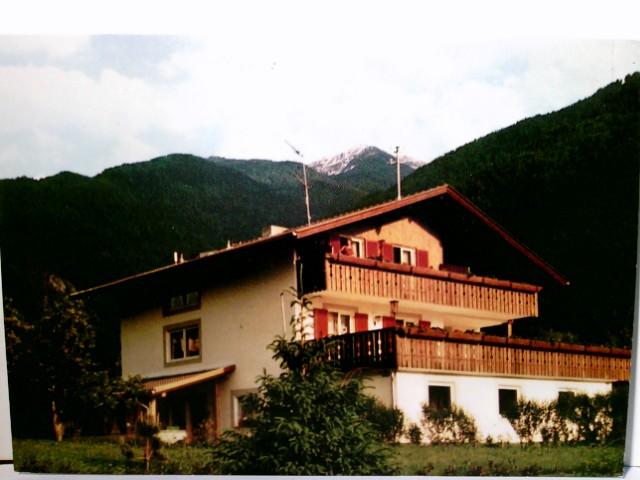 Gänshof in Latsch. Fam. Pirhofer Johann. AK farbig. Gebäudeansicht, Bergpanorama, Vinchgau, Südtirol, Italien