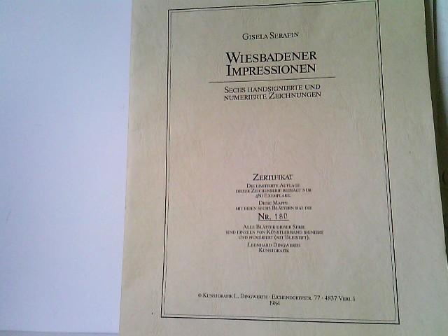 Wiesbadener Impressionen. Vier handsignierte und numerierte Zeichnungen: Das Römertor / Kirche in Frauenstein / Das hessische Staatstheater / Das Kurhaus. Limitierte Auflage. Nr. 180 von 480 Exemplaren