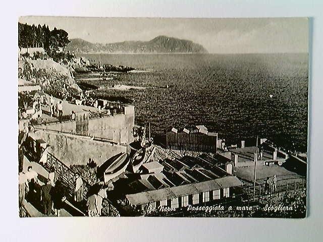 Ge Nervi, Passeggiata a mare, Scogliera, AK, gelaufen 1957