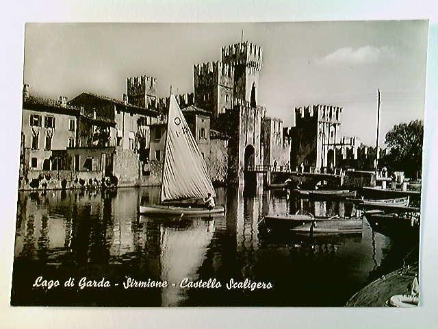 Sirmione, Castello Scaligero, Boote, Lago die Garda, AK, ungelaufen