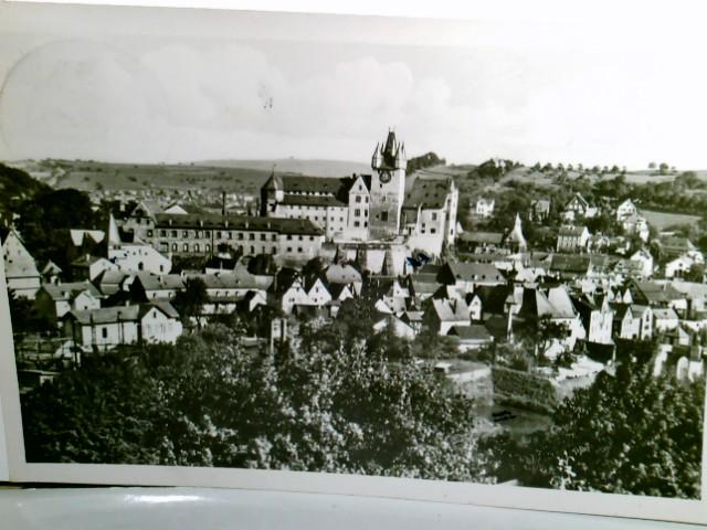 Diez an der Lahn. Gesamtansicht. Alte AK s/w. Ortsansicht mit Blick zum Schloß, Panoramablick