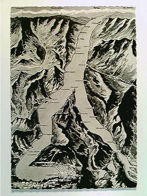 Lago di Como, Landkarte, AK, ungelaufen, ca. 1955