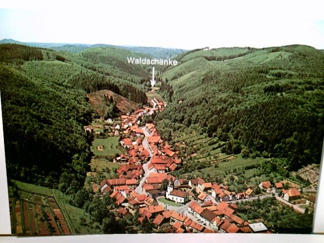 Waldschänke / Pension Steinatal. Bad Sachsa 1 - Steina im Südharz. Alte AK farbig. Panoramablick aus der Vogelperpektive über Ort und Tal, Pfeil zur Waldschänke
