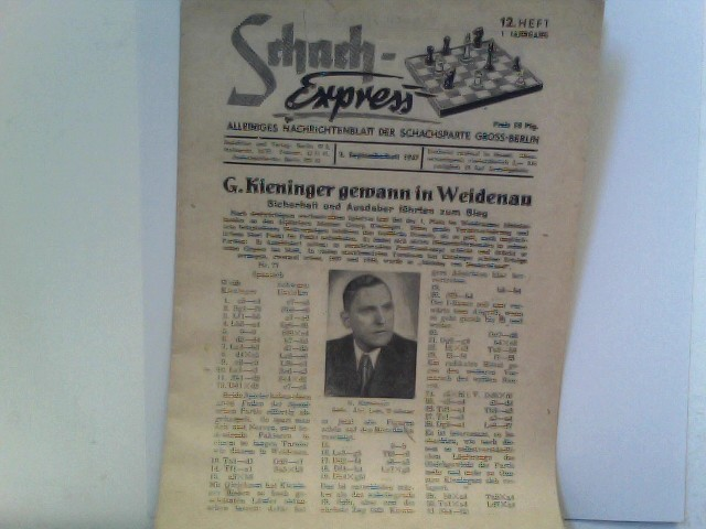 Schach-Express. Die Zeitschrift der Schachfreunde. 1. Jahrgang  / Heft 12 / September 1947