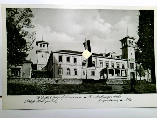 B.D.M. Obergauführerinnen - u. Haushaltungsschule Schloß Heiligenberg. Jugenheim a.d.B. Alte AK s/w. gel. ca 1937. Gebäudeansicht