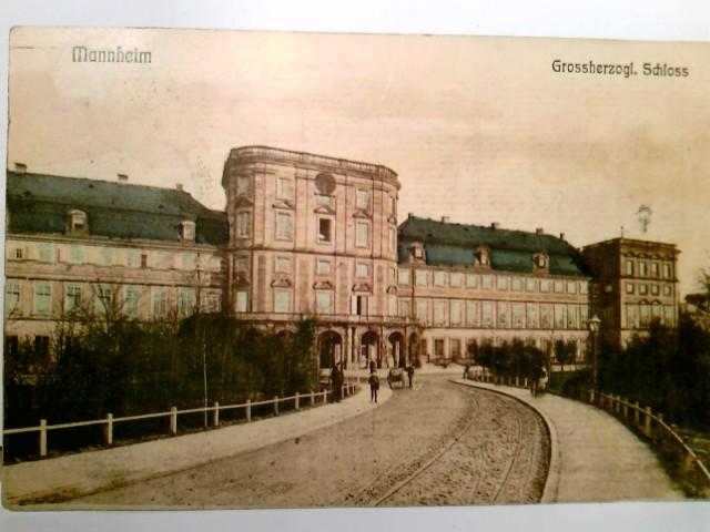 Mannheim.Grossherzogliches Schloss. Alte AK farbig. gel. 1907. Gebäudeansicht, Auffahrt zum Schloß, Personen