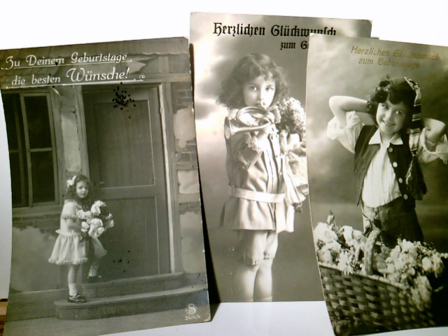 Herzlichen Glückwunsch zum Geburtstage !. 3 x Nostalgische Glückwunsch AK s/w u. farbig. gel. 1909 / 1912 u.13, Nostalgie, Vintage