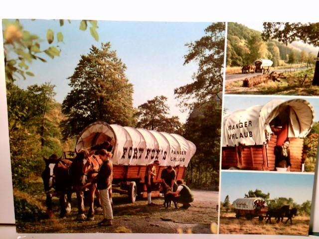 Fort Fun - Planwagen. Gevelinghausen Hochsauerland. Alte Mehrbild AK farbig. gel. 1973. 4 versch. Ansichten von Pferden und Planwagen