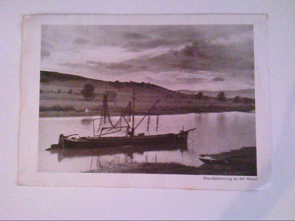 Abendstimmung an der Mosel. Fsicherboot. Kunstkarte. Kunstfoto- Kalender 1937. Kaffee-Großrösterei J.G.Strothoff & Sohn. AK.