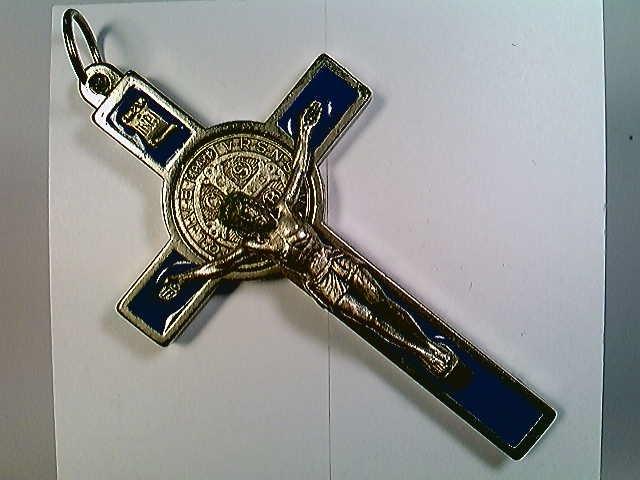 Medaille, Kruzifix mit Emailleeinlagen, Benediktussegen