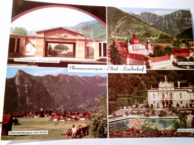 Oberammergau. Ettal. Linderhof. Alte Mehrbild AK farbig, ungel. Passionsbühne, Kloster Ettal, Oberammergau m. Koffel, Schloß Linderhof