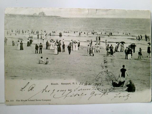 Beach. Newport, R. I. Alte AK s/w. gel. 1905. Strandpartie, Kinderwagen, viele Strandbesucher, Gebäude im Hintergrund, USA, Amerika