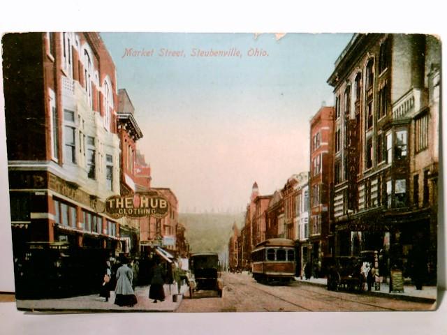 Market Street, Steubenville - Ohio. Alte AK farbig, gel. ca 1914, Straßenpartie, Gebäudeansichten, Geschäfte, Straßenbahn, Passanten, Amerika, USA