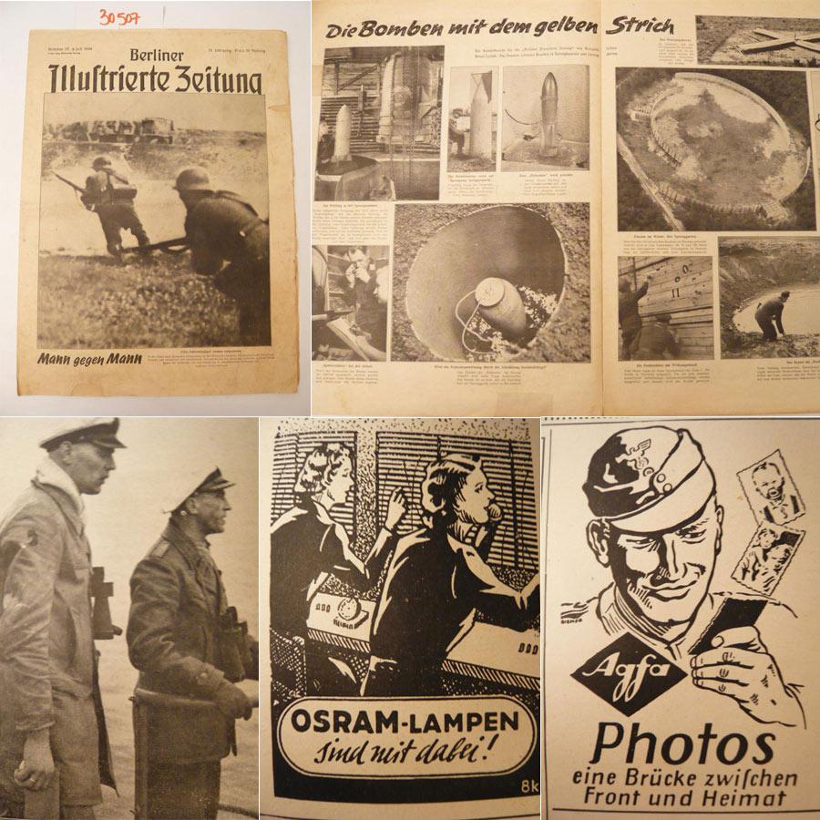 Berliner Illustrierte Zeitung Nr.27 vom 6.Juli 1944 / 53.Jahrgang *  I n v a s i o n /  D - D a y / U-Boot-Jäger  E i c h e n l a u b t r ä g e r   O t t o   P o l l m a n n