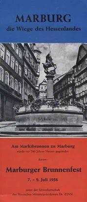 Marburger Brunnenfest 7. - 9. Juli 1956 [Festprogramm a. Faltblatt]