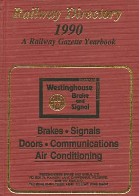 Railway directory and year book. A Railroad gazette Yearbook 1990