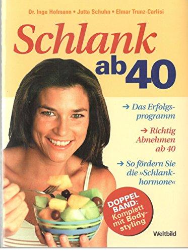 """Schlank ab 40 : [das Erfolgsprogramm ; richtig Abnehmen ; so fördern Sie die """"Schlankhormone""""]. [Inge Hofmann]; Bodystyling ab 40 / [Jutta Schuhn ; Elmar Trunz-Carlisi]; Doppelband"""