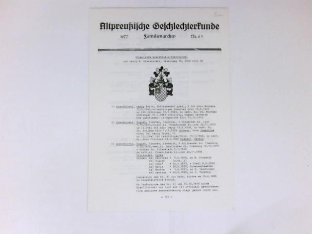 Altpreußische Geschlechterkunde : Nr. 61. Familienarchiv.