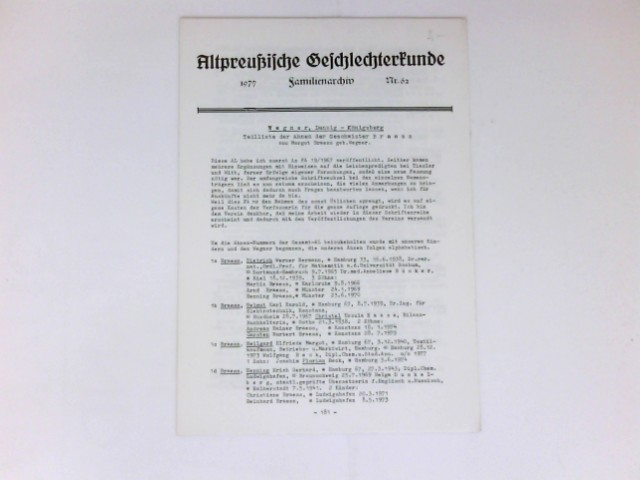 Altpreußische Geschlechterkunde : Nr. 62. Familienarchiv.